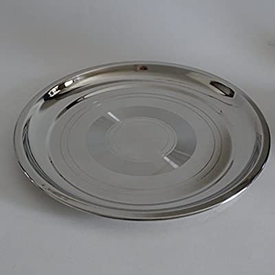 Set of 4 Stainless Steel Round Food Serving Mess Tray, Best suited as Stainless Steel Camping Plates or Dinner Serving Plates for Hot or Cold, Dishwasher Safe, Reusable.