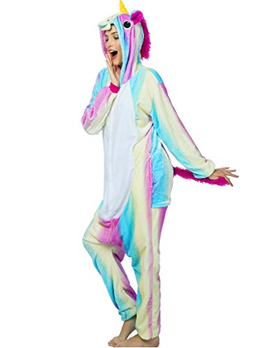 Adult Onesie Unicorn Pajamas for Women Kigurumi Animal Cosplay Halloween Costume, Rainbow Unicorn 2, L For Height 66