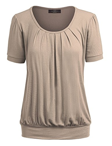 Made By Johnny WT1175 Womens Scoop Neck Short Sleeve Front Pleated Tunic XXL Taupe