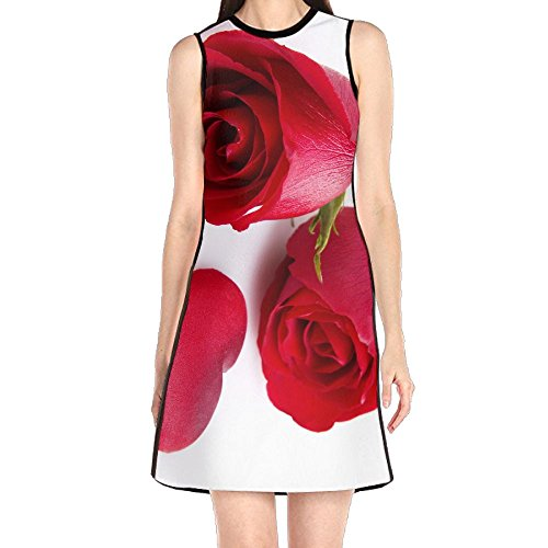 MONILO Adorable Red Roses Women's Fashion Sleeveless Mini Dress Print Party Dress Tank Dress Rose Print Silk Dress