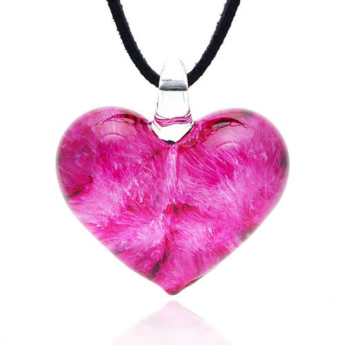 Pink Rose Heart - Chuvora Hand Blown Murano Glass Rose Pink Heart Shaped Pendant Necklace, 18-20 inches