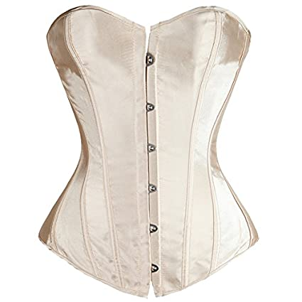 47c5619618d Amazon.com  Ryvox(TM) Hot-sale Lovely Pure New Women Satin Sexy Bustier  Lace up Boned Top Corset Overbust Brocade Plus Size S-6XL Lingerie SG0719   Home   ...