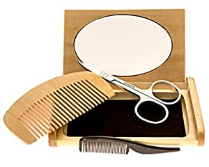 Mr Rugged Beard Trimming Set with Mustache Scissors, Plastic Mustache Comb, Wood Beard Comb, Mirrored Wood Case & 3 Plastic Barber Aprons - Great Gift Set for Men