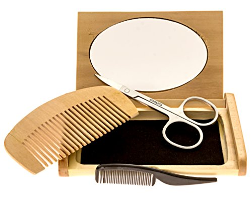 Mr Rugged Beard Trimming Set with Mustache Scissors, Plastic Mustache Comb, Wood Beard Comb, Mirrored Wood Case & 3 Plastic Barber Aprons - Great Gift Set for (Men Moustache)