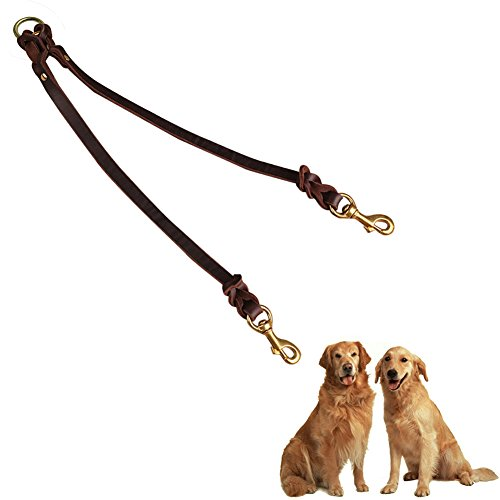 """Fairwin Genuine Leather Dog Leash Coupler / Splitter, No Tangle Double Dog Leash for Two Large Dogs. 5/8"""" x (Leather Dog Coupler)"""