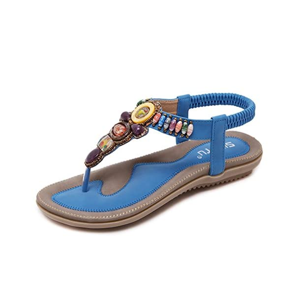 97b762822ee42 Meeshine Women s Summer Thong Flat Sandals T-Strap Bohemian Rhinestone Slip  On Flip Flops Shoes - Bohemian Fashion Corner