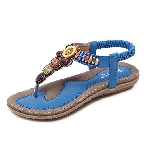 Meeshine Women's Summer Thong Flat Sandals T-Strap Bohemian Rhinestone Slip On Flip Flops Shoes (11 B(M) US, Blue 04)