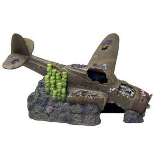 Blue Ribbon Pet Products Exotic Environments Super Sized Sunken Plane with Broken Wings Aquarium Ornament, 22-Inch