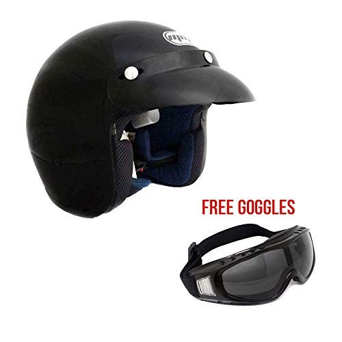 MMG 207 - Motorcycle 3/4 Open Face Helmet Snap On Visor Street Cafe Racer D O T - Glossy Black (Large) with Goggles ()
