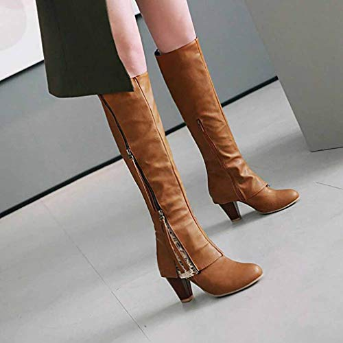 Boots Evening Winter Size amp; Spring H Heel Women's Boots 2018 Fashion Large Office New Comfort Ladies D High amp; Party Mill Career Fall Riding Sand Y Zipper 41 Thick Boots Lace Boots HCqU0