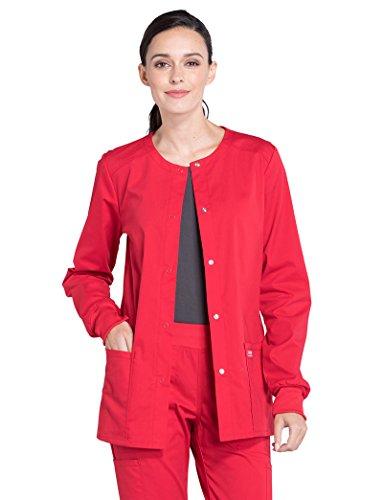 Cherokee Professionals by Workwear Women's Snap Front Warm-Up Solid Scrub Jacket XX-Large Red (Poplin Cherokee Uniform)