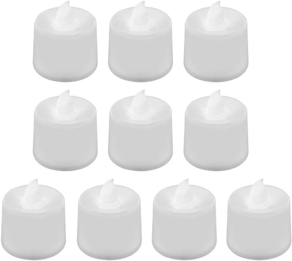 wangZJ 10 piezas velas de ámbar sin llama luz de vela led electrónica/luces de té led amarillas/decoración de velas de cera/blanco frío