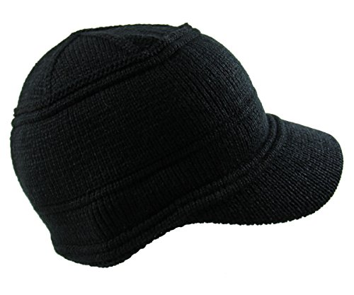 RW Men's Knit Jeep Beanie Visor One Size Black