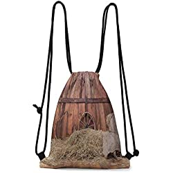 Storage Bag Barn Wood Wagon Wheel,Rural Old Horse Stable Barn Interior Hay and Wood Planks Image Print,Brown Dust W13.8 x L17 Inch Bags Gift