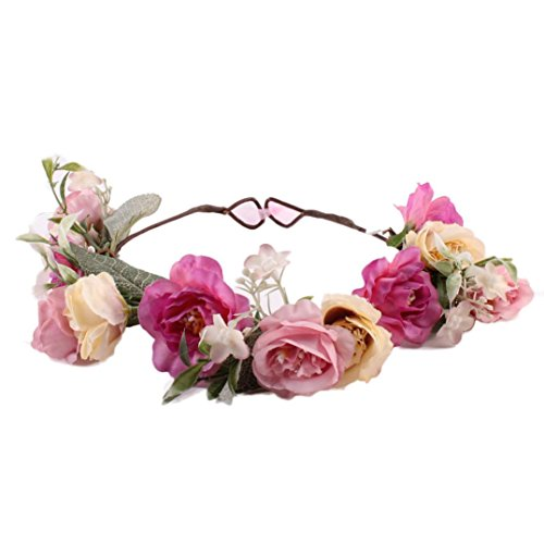 Anshinto Baby Girls Handmade Rose Flower Headband Hair Band Wreath Headdress (Purple)