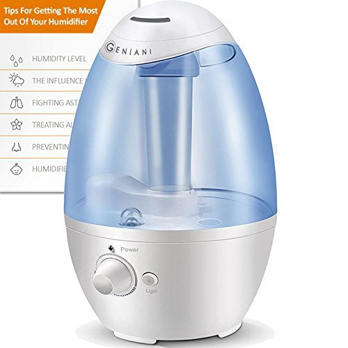 Geniani Ultrasonic Cool Mist Humidifier Best Air Humidifiers For Bedroom Living Room Baby With