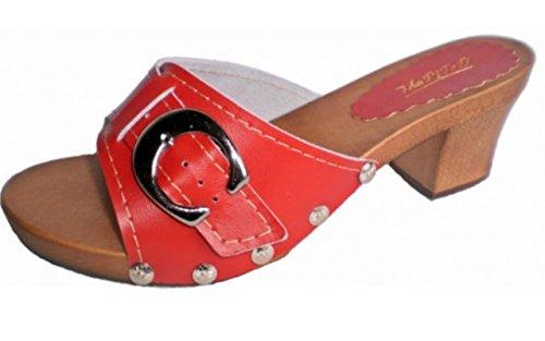 Marited' Zuecos de cuero mujer sandalias de cuero Rojo