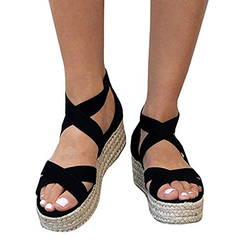 (XMWEALTHY Women's Platform Wedges Heel Sandals Summer Strappy Open Toe Espadrilles Sandals Black US)