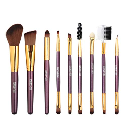 Ourhomer Makeup Brush Set 9PCS Wooden Foundation Cosmetic Ey
