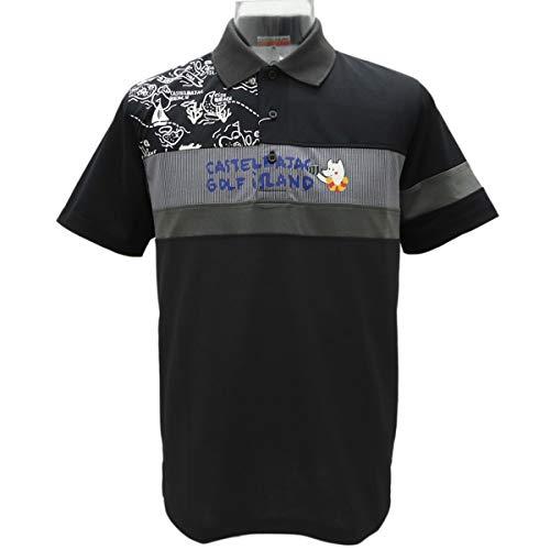[カステルバジャック] ハワイゴルフ柄 切り替え半袖ポロシャツ《黒》(LL)PS*022317010599   B07SCXRVX6