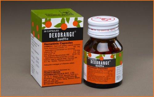 Dexorange 30 Capsules Hematinic Capsules Anemia Weakness Ulcer Piles Peptic Herbal