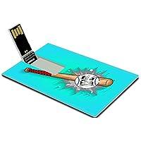 Luxlady 32GB USB Flash Drive 2.0 Memory Stick Credit Card Size Retro Baseball and Bat Mascot Vector IMAGE 35046627