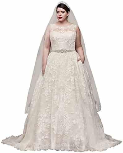 869ac159c0b4 David's Bridal Lace Plus Size Wedding Dress with Pleated Skirt Style 8CWG780