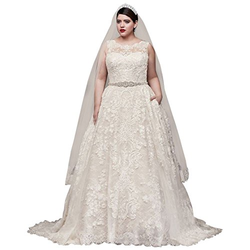 David\'s Bridal Lace Plus Size Wedding Dress with Pleated Skirt Style  8CWG780, Ivory, 26W