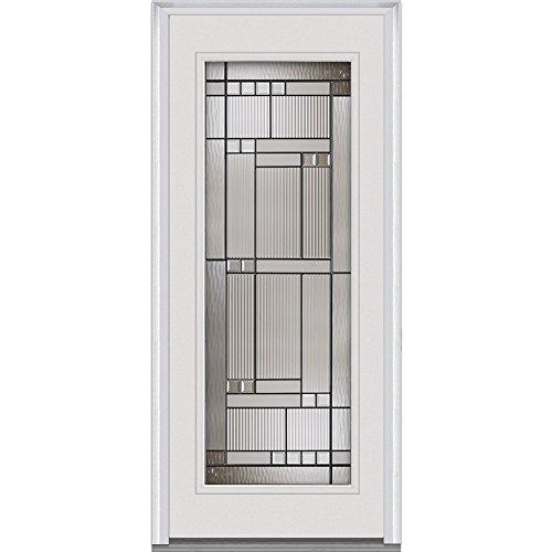 National Door Company EFS686KEN30FSVL Fiberglass Smooth, Primed, Left Hand In-Swing, Exterior Prehung Door, Kensington Full Lite, 36