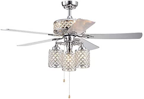 Warehouse of Tiffany CFL-8347CH Treista 52-inch 5-Blade Chrome Lighted Crystal Lattice Shades Ceiling Fan