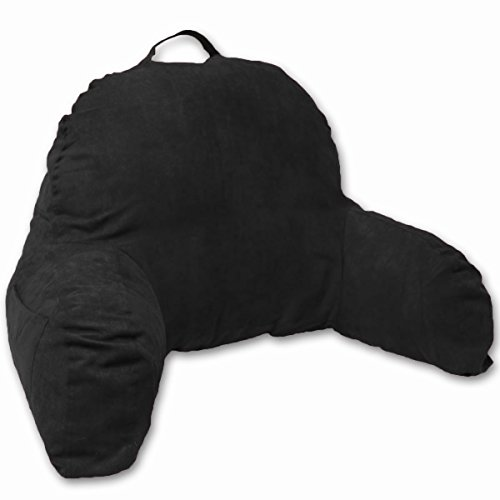 - Deluxe Comfort Microsuede Bed Rest - Reading and Bedrest Lounger - Sitting Supprt Pillow - Soft But Firmly Stuffed Fiberfill - Backrest Pillow With Arms, Black