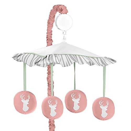 Sweet Jojo Designs Musical Baby Crib Mobile for Coral, Mint and Grey Woodsy Deer Girls Collection