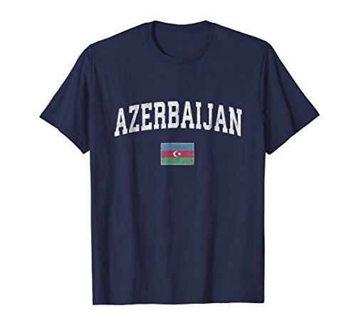 Azerbaijan T-Shirt Vintage Sports Design Azerbaijan Flag Tee