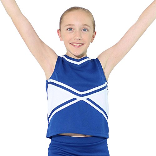 Danzcue Girls 2-Color Kick Sweetheart Cheerleaders Uniform Shell Top, Royal-White, X-Small ()