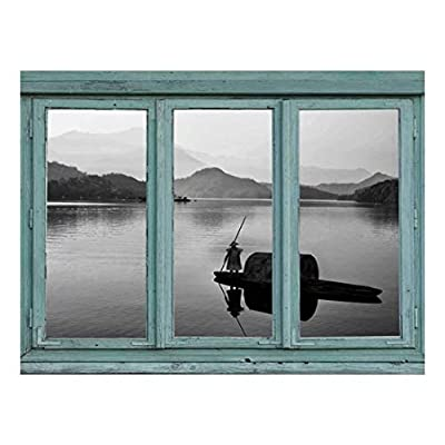 Stunning Piece of Art, That You Will Love, Vintage Teal Window Looking Out Into a Black and White Boat on a Lake with a Mountain View Wall Mural