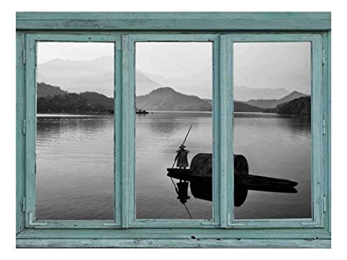 Vintage Teal Window Looking Out Into a Black and White Boat on a Lake with a Mountain View Wall Mural