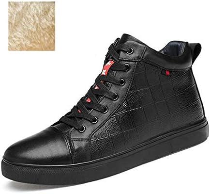 HEmei Scarpe da Uomo Autunno Inverno Nuove Sneakers in Pelle Scarpe Casual  Alte sul Ponte Scarpe da Passeggio Stringate Scarpe Basse (Colore   Nero 22747f78c66