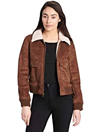 Women's Faux Leather Sherpa Aviator Bomber Jacket