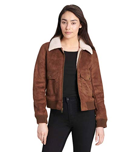 (Levi's Women's Faux Leather Sherpa Aviator Bomber Jacket, Cognac, Small)