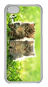 taoyix diy Customized iphone 5C PC Transparent Case - Two Cat Cover