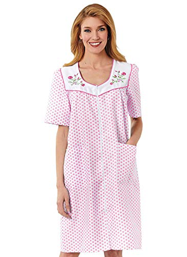 Embroidered Zip Dot Duster, Color Pink, Size Extra Large (3X), Pink, Size Extra Large (3X)