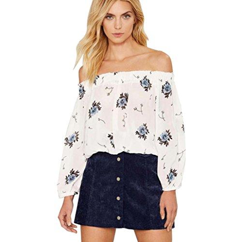 Lisingtool Women's Off Shoulder Stripe Long Sleeve Blouse Shirt Tops (S, White)