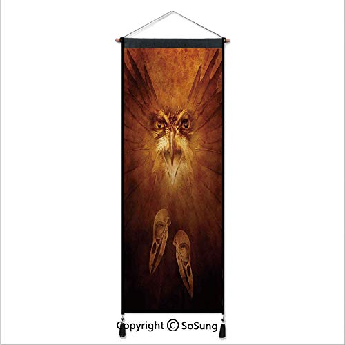 SoSung Animal Decor Tapestry Wall Hanging,Hawk Eagle Face and Claws with Feather Wings in Fire Like Background Art Print,Home Art Decor Beautiful Apartment Dorm Room Decoration,17.7