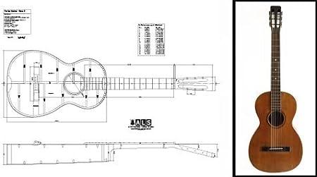 Plan de una guitarra acústica vintage estilo Martín Parlor (Parlour) - Impresión a escala completa