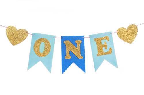 May&June Blue And Gold Glitter 1st First Birthday One Banner, Felt, Glitter ONE Letter And Heart Shapes, For Baby Boy, Baby Shower, High Chair Decoration, Wall Decor - Boy Letter Banner