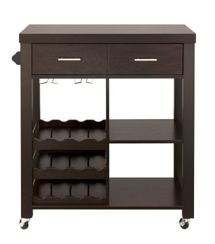 ioHOMES Classic 2-Drawer Home Kitchen Cart with Wheels, Cappuccino (Cart Room Dining For Bar)