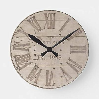 PotteLove Faux Rustic Wood Custom Wooden Decorative Round Wall Clock
