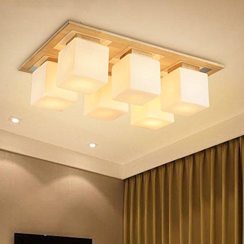 BLYC- Koreanischen Stil einfach und solide Holz Schlafzimmer Lampe kreative rechteckige LED neun Quadrate Wohnzimmer Esszimmer Licht Holz Deckenleuchten , 6 head