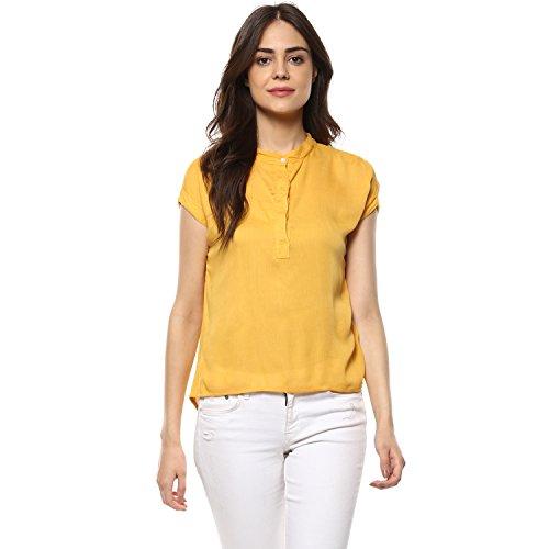 mayra Women #39;s Rayon Yellow Color Short Sleeve Top