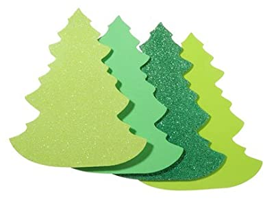 Green Foamie Christmas Tree Foam Shapes for Holiday Decorating and Childrens Craft Projects - 72 Pieces Total (3 Packages of 24)